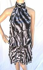NWOT VENUS BLACK WHITE GRAY SLEEVELESS FLOUNCE DROP WAIST CHIFFON MINI DRESS ~2