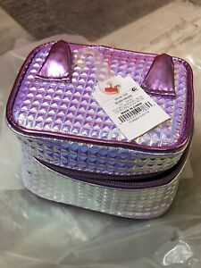 Target Girls Childs 1pc Cosmetic makeup Case Box w/Ears & Zipper Purple & Silver