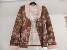 Carre Rouge Cardigan With Furry Pink Collar & Cuffs Size S Brown Pink Floral
