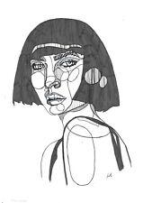 original drawing A3 98BJ art by samovar ink modern female portrait Signed 2020