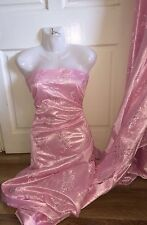 "5 MTR PINK METALLIC LACE ON SATIN BRIDAL FABRIC...60"" WIDE £19.99"