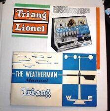 1963 Triang Lionel, el meteorólogo Manual, Para Estación Meteorológica mk2 no 3252