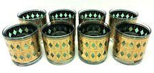 8 Vintage West Virginia Glass Co Rainier 22K Gold Green Whiskey Glasses Tumblers