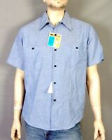 vtg 60s 70s NOS NWT Deadstock Sears Chambray Denim Work Shirt SS perma prest L