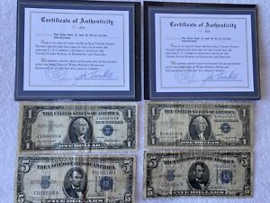 (2) $1 & $5 Silver Certificates & (2)  $2 & $5 United States Notes With C.O.A.