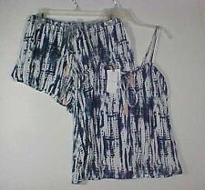 Jessica Simpson 2 pc Lingerie Cami & Shorts Navy & White Tie Dyed Set NWT Sz L
