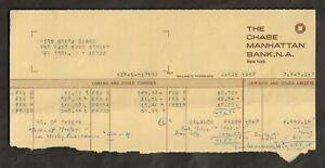 1967 GRETA GARBO ORIGINAL CHASE MANHATTAN BANK ACCOUNT STATEMENT