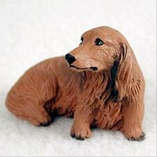 Dachshund Red Longhair Dog Tiny One Miniature Small Hand Painted Figurine