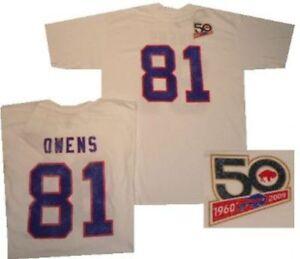 Buffalo Bills Terrell Owens 50th AFL Reebok Distressed T Shirt   Clearance