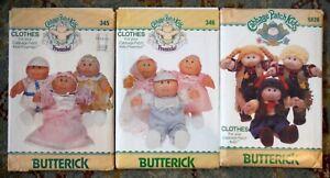 Vintage Lot of 3 Cabbage Patch Kids Clothing Butterick Patterns Uncut P1622