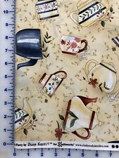 Fabric, Clothworks, Tea Party, Light Khaki Y0546-11, by the yard