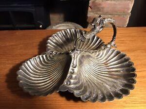 Vintage Mappin & Webb Princes Silver Plate Triple Three Trio Clam Shell Dish