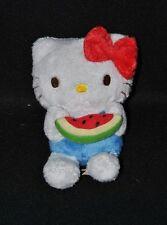 Peluche doudou chat blanc HELLO KITTY SANRIO bleu tranche de pastèque 14 cm TTBE