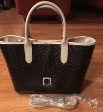 Dooney and Bourke Brielle Textured Pebble Black Cream Handbag Satchel Bag New