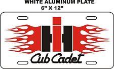 IH CUB CADET FLAME --  WHITE ALUMINUM   LICENSE PLATE