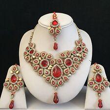 Red Gold Indiano marchi Bigiotteria Collana Orecchino Cristallo Set Da Sposa Nuovo