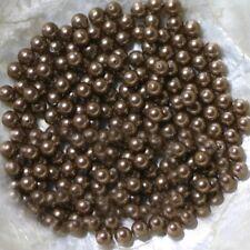 "5 Perles NACRE VÉRITABLE - PERLES DE CULTURE - ""MARRON GLACÉ"" - Ø  6 MM"