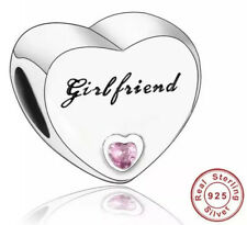 🇬🇧💜💜925 STERLING SILVER GIRLFRIEND CHARM WITH PINK CZ & POUCH