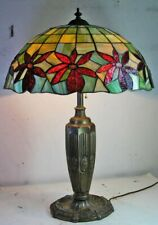 New listing Antique Floral Mosaic Slag Stained Glass Table Lamp Patinated Bronze Vase Base