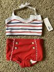 Janie & Jack Striped 2-Piece Swimsuit Set Fourth of July Red, White & Blue 2T