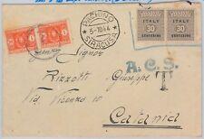 66089 - OCCUPAZIONE ANGLO AMERICANA usati su BUSTE dopo SCADENZA - TASSATI! 1944