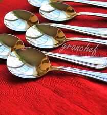 Bouillon Spoons ~ 6 Piece Set ~ Dots Pattern ~ NIB ~ Hard to find round-bowled