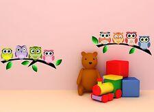 Wandtattoo Eulen auf Baum - Sticker Wandaufkleber Wandsticker Kinderzimmer A003