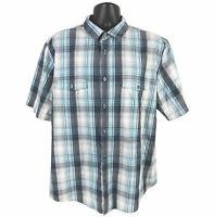 Alfani Shirt Mens Size XXL 2XL Blue Gray Plaid Shirt Sleeve Button Regular Fit