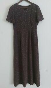Laura Ashley Vintage Silk Long Dress Polka Dot short Sleeve Size uk 8