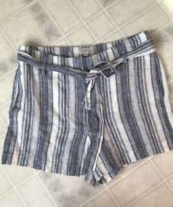 LOFT Ann Taylor Sz 6 new! Shorts Tie Paper Bag Waist Blue Stripe Linen Blend