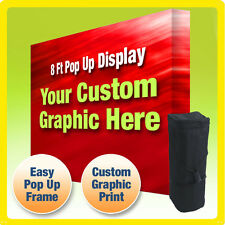 8 FT CUSTOM TENSION FABRIC STRAIGHT POP UP TRADE SHOW DISPLAY BOOTH