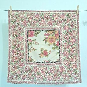 """April Cornell Pink Floral Pillow Cover 23""""x 23"""" Square 100% Cotton Buttons India"""