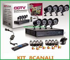 KIT VIDEOSORVEGLIANZA 8 TELECAMERE KIT DVR 8 CANALI COMPLETO VISIBILE SMARTPHONE