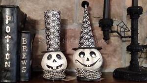 Set 2 NWT Black & White GHOST HEAD Witch Hat Undertaker Hat Halloween Decoration