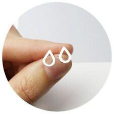 Silver Plated Dainty Simple Teardrop Raindrop Water Droplet Drop Stud Earrings
