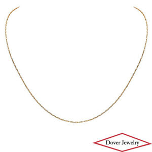 Italian 14K Gold 17.75  Long Elegant Small Anchor Link Thin Chain Necklace NR