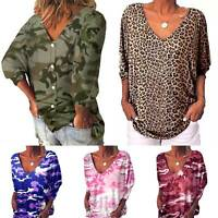 Womens Loose 3/4 Sleeve Back Buttons Print T Shirts Plus Size V Neck Top Blouse
