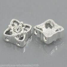 "W09 5PCs Spacer Beads Slider With Rhinestone 2 Holes 11mm x 11mm( 3/8""x 3/8"")"