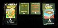 Atari 2600 Game Cartridge Lot Of 4 Text Label Adventure & Space Invaders Manuals