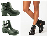 LADIES WOMENS NEW BLOCK HEEL CHUNKY SOLE CUT OUT ANKLE BUCKLE BOOTS SHOES SIZE