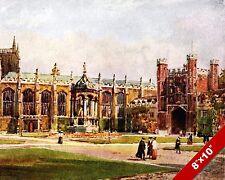 TRINITY COLLEGE COURT CAMBRIDGE ENGLAND ENGLISH ART PAINTING REAL CANVAS PRINT