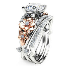 Women 925 Silver Filled White Sapphire Gold Flower Ring Set Wedding Jewelry Gift