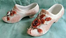 Vintage  Ornamental Ceramic Flower Shoes