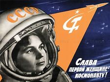 PROPAGANDA WOMAN COSMONAUT USSR TERESHKOVA LARGE POSTER ART PRINT BB2797A