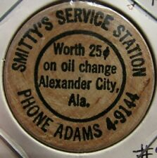Vintage Smitty's Service Station Alexander City, AL Wooden Nickel - Alabama #2