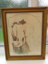Vintage.Signed.William Tara.Elephants Picture.Lithograpgh.?.Han d Coloured