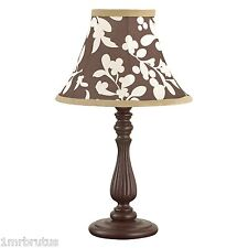CoCaLo Pewter Lamp Base & Shade Neutral Girl's Nursery Shabby Chic Brown Beige