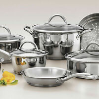 Stainless Steel 12 Piece Tri-Ply Clad Cookware Set Silver Gourmet Tempered Glass