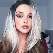 Women Fashion Ombre Gray Curly Wig Sexy Cosplay Wig Long Straight Synthetic
