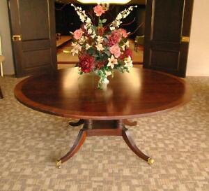 """Banded Mahogany 72"""" Diameter Dining Table by Baker, Collector's Edition"""